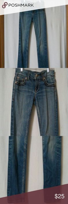 "Miss Me Women's Size 26 X 30"" inseam Jeans Gently worn, Brooklyn, zipper with a metal button, two front pockets and a small coin pocket, two back flap button pockets, thick stitched, embroidered back pockets, Irene, straight, cotton and spandex, front rise 7"" Miss Me Jeans Straight Leg"