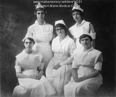 Eastern Maine General Hospital Nurses School class of 1922 pose in uniform.    There were 27 nursing students at the beginning of the year and 48 at its end.    Student nurses worked 12 hour shifts and were allowed a half day a week plus Sunday and holidays for leisure time.