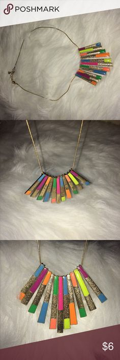 Multi neon colored and gold dangle necklace Multi neon colored and gold dangle necklace Jewelry Necklaces