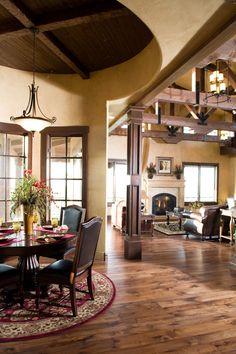wood beams and wood ceilings in dining room