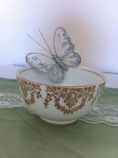 Vintage gold and white Sugar Bowl by VintageShepherdess on Etsy