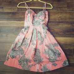 As U Wish Vintage style floral dress Worn once for Easter! Great condition! Size 5 Gorgeous pleating around sweetheart neckline. Fully lined, with a little tulle in skirt for fuller a-line look. Zipper in back and bow ties As U Wish Dresses Mini