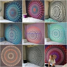 Wall Tapestry Indian Tapestry Twin/Queen Size Mandala Tapestry Cotton Wall Decor Bohemian Tapestry W Indian Tapestry, Bohemian Tapestry, Mandala Tapestry, Teen Room Decor, Room Decor Bedroom, Bedroom Inspo, Dorm Room, Bedroom Ideas, Bohemian Dorm