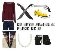 """""""He Gets Jealous: Glenn Rhee"""" by mcglitterpawz ❤ liked on Polyvore featuring art"""