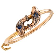 Victorian Sapphire Ruby Diamond Gold Snake Bangle | From a unique collection of vintage bangles at https://www.1stdibs.com/jewelry/bracelets/bangles/