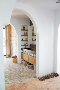 Bathroom with stone floor in a home on Ibiza