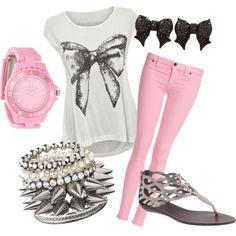 Pink & Gray Bows - Polyvore