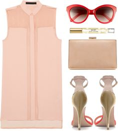 """Nude and red"" by endimanche ❤ liked on Polyvore"