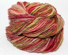Bushel of Apples - Handspun - Hand Dyed Single Ply Merino wool yarn - 177 yds.  - By Sassafras Fiber Arts