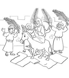 This Free Coloring Sheet Shows Jesus Riding Into Jerusalem On A