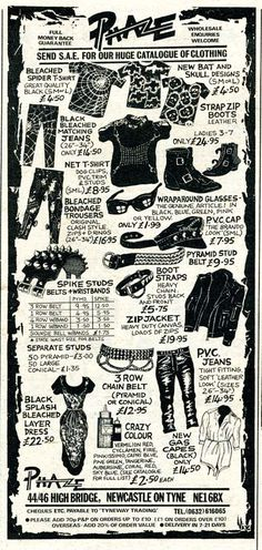 Supplies for all your punk and punk-relatedneeds  THERE HAS GOT TO BE A PUNK CONTINGENT early on 1971-76 commemorated by some societal milestone, outside of society but craving spotlight even if shitty little rock rag, a junior cult edgier scrappier RS back when it felt like the voice in your hands.