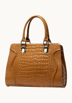 Vicki Croc Effect Leather Tote Camel