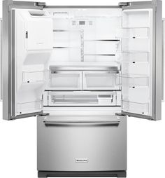 Keep all your snacks and drinks nice and chilling inside with KitchenAid French Door Refrigerator in PrintShield Stainless with Exterior Ice and Water. Kitchenaid Refrigerator, Top Freezer Refrigerator, French Door Refrigerator, French Buildings, Lac Saint Jean, Freezer Burn, Water Dispenser, Time 7, Room Interior