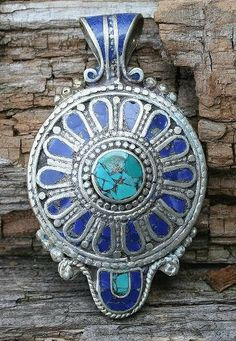 Nepalese Lapis Lazuli Turquoise pendant - look4treasures on Etsy