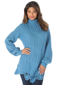 """This plus size sweater gets some extra excitement from an asymmetrical collar and crochet hem. Acrylic knit. Machine wash. Imported. Novelty stitching Asymmetrical crochet hem Cowl neck with side buttons Long poet sleeves About 29"""" from shoulder to hem Plus size sweaters, tunics, tops – """"Renee"""" cable sweater by denim 24/7, sizes S to 4X"""