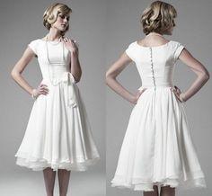 Best White Chiffon Cap Sleeves Short Tea Length A Line Wedding Dresses Simple Designe 2015 Bow Waist Beach Wedding Informal Bridal Gowns ZC from Engerlaa,$106.73   DHgate.com