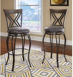 Brown Padded Upholstered Seat Metal Legs Hammered Nickel Counter Stool 39 Inch #BarStool #BrownPadded #UpholsteredSeat #MetalLegs #HammeredNickel #Counter #Stools #Furniture #BarStool #Kitchen #Dining #Home #HomeDecor #39Inch
