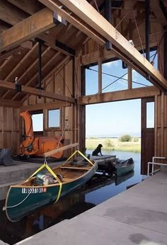 Hank& boathouse is much dirtier, lacks those terrific windows and faces a busier lakeshore. But Otto and Hank work there, side-by-side, with no complaints. Boat Shed, Boat Garage, Lakefront Property, Architect Design, The Ranch, Rustic Design, Architecture, The Great Outdoors, Tiny House