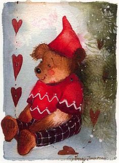 ❧ Illustrations Noël et hiver ❧ art by Minna Immonen Childrens Christmas, Christmas Music, Christmas Pictures, Vintage Christmas, Illustration Noel, Illustrations, Bear Paintings, Bear Art, Art Themes
