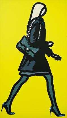 It's as if I am walking around Bond Street. Julian Opie, Woman with Telephone, Vinyl (currently displayed at Lisson Gallery) Jasper Johns, David Downton, Roy Lichtenstein, Andy Warhol, Richard Hamilton, Lisson Gallery, Art Postal, Pop Art Illustration, Yellow Art