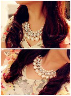$9.33 Necklace Fashion Sweet White Pearl Crystal Silk Ribbon Design - 1PC - BornPrettyStore.com
