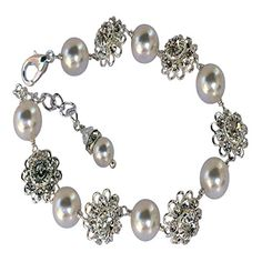 HisJewelsCreations Bridal Rhinestone Flower Simulated White Pearl Bracelet with Crystal from Swarovski *** Continue to the product at the image link.