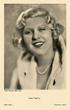 """Lee Parry (1901 - 1977) was a German film actress of the silent and the early sound era, often in films by her husband Richard Eichberg. She appeared in 48 films between 1919 and 1939."" #German #actress #movies #vintage #European #films"