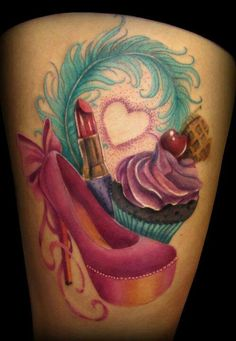 Girly tattoo. This is super cute but maybe not so cartoonish.. and maybe incorporated into a sleeve