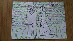 Postkarte - Rohling nur mit Zeichnung, an Gäste verteilen und jede Kalenderwoche an das Brautpaar senden