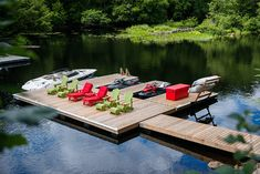 The Boathouse: a new definition to lakefront living! Lake Dock, Boat Dock, Bar Piscina, Lake Landscaping, Lakeside Living, Lakeside Beach, Floating Boat, Haus Am See, Lakefront Property