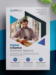Corporate Flyer Layout with Blue Elements. Corporate Flyer, Corporate Business, Business Brochure, Business Design, Creative Business, Business Flyers, Flyer Design Inspiration, Event Poster Design, Graphic Design Posters