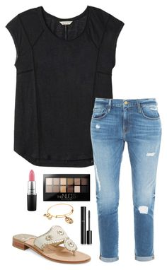 """""""I'm not America's sweetheart"""" by mylifeassyd ❤ liked on Polyvore featuring Rebecca Taylor, Frame Denim, Jack Rogers, Chanel, MAC Cosmetics, Maybelline and Alex and Ani"""