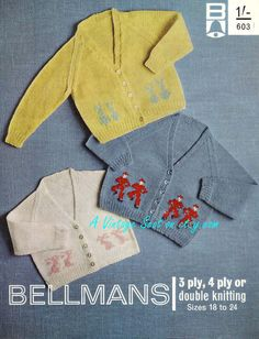 ON SALE - Vintage pdf of  Knitting Baby Pattern - Bellmans 603 - 3ply 4ply & Dk V-necked cardigan 18-24ins ownload
