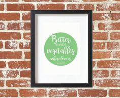 Kitchen Wall Art Vegetable Art Vegan Art by DesignPlenty on Etsy