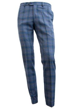 Plaid Stretch Wool Trousers