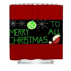 Shower Curtain of 'Merry Christmas To All 5' by Sumi e Master Linda Velasquez. All My Apparel in SHOP at top of site.