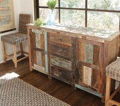 Shabby Chic Vintage Sideboard - A wonderful story. A green story. Restored and available for a new, eco-friendly generation. Inspired by the hand tools used in ancient art of printing fabrics and by centuries-old hand carved panels adorning the inside and facades of aged buildings. The perfect piece of handmade artwork to incorporate into any dining room or livingroom.