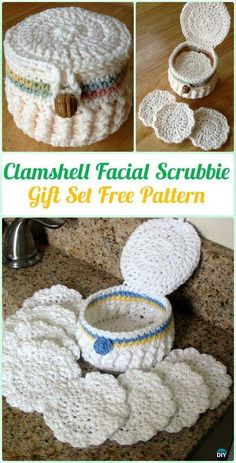Crochet Clamshell Facial Scrubbie Gift Set Free Pattern - Crochet Spa Gift Ideas Free Patterns #CrochetGifts