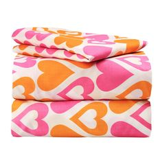 Dor Extreme Super Soft Luxury Orange and Pink Hearts Bed Sheet Set in 8 Different Prints, Twin, Galore, 3 Piece Orange Bed Sheets, Orange Bedding, Pink Bedding, Luxury Bedding, Unique Bedding, Comforter, Teen Bedding Sets, Christmas Bedding, Rustic Master Bedroom