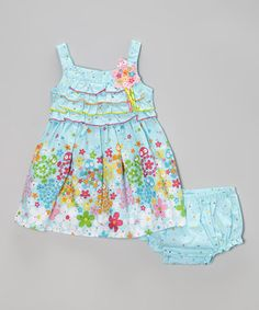 This Sweet Heart Rose Light Blue Floral Dress & Diaper Cover - Infant, Toddler & Girls by Sweet Heart Rose is perfect! #zulilyfinds