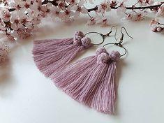 dusty pink macrame earrings, macrame roses, fringe earrings Macrame Earrings, Fringe Earrings, Tassel Necklace, Dusty Pink, Tassels, Roses, Jewelry, Jewlery, Pink