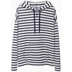 T by Alexander Wang Striped French Terry Hoodie (€115) ❤ liked on Polyvore featuring tops, hoodies, sweaters, outerwear, striped top, stripe hoodie, striped hooded sweatshirt, french terry hoodies and striped hoodie