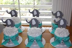 Elephant Themed Baby Shower Centerpieces; Neutral Diaper Cake Centerpieces