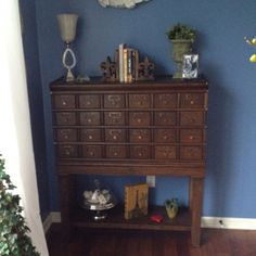 Previous pinner: I found this card catalog in a local antique shop. It matches my wood floors and looks awesome in my home library!