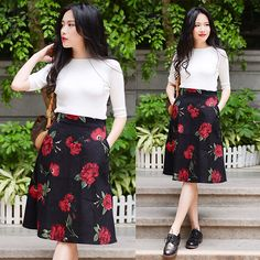Rosa - Larmoni Retro A Line Floral Skirt, Larmoni Slim Knit Top - Retro Floral Skirt