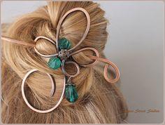 Hair Pin with Sparkling Green Beads, Hair Clip, Women, Hair Slide, Copper Wire Bun Holder, Hair Stick, Hair Barrette Hair Accessory Bun Wrap