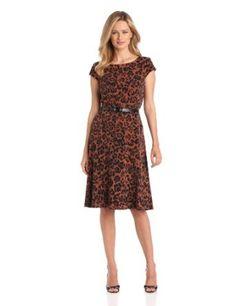 Anne Klein Women's Cap Sleeve Leopard Print Dress $71.40 #dresses