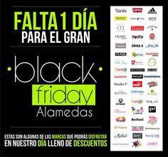 Falta 1 día para el BLACK FRIDAY de marcas ALAMEDAS ! No te lo puedes perder un día lleno de fantásticos #DESCUENTOS !!! Alamedas CC #Piensaenti