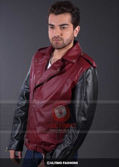 Double Tone Tom Cruise Biker Leather Jacket Jacket Features:Outfit type: Leather JacketGender: MaleColor: Maroon & BlackFront: Front Zip ClosureCollar: Double shirt CollarLining: Viscose LiningPockets: Zip Two pockets