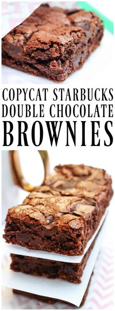 COPYCAT STARBUCKS DOUBLE CHOCOLATE BROWNIES these decadent brownies are rich, soft and chewy, tasting even better made at home. #copycatrecipe #copycat #brownies #chocolate #doublechocolate #starbucks